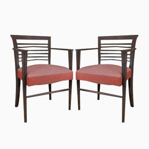 Sedie vintage in quercia ed ecopelle rossa, anni '50, set di 2