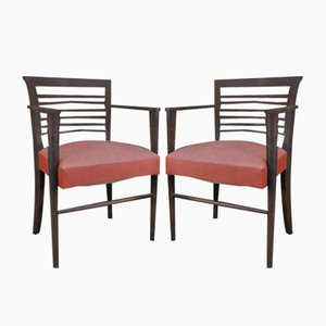 Vintage Chairs in Oak & Red Leatherette, 1950s, Set of 2
