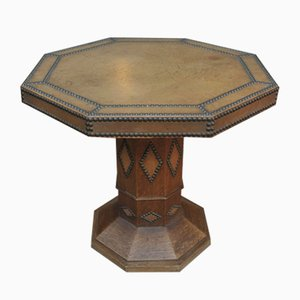 Vintage Studded Leather and Oak Octagonal Pedestal, 1950s