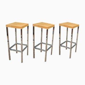 Chromed Metal Square High Barstools, Fresnes, 1970s, Set of 6