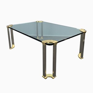 Large Coffee Table with Glass Plate and Brass Legs by Peter Ghyczy, 1970s