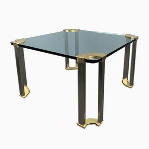 Square Coffee Table with Glass Plate and Brass Legs by Peter Ghyczy, 1970s