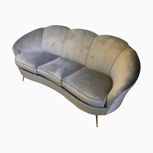 Mid-Century Modern Brass & Velvet Curved Sofa in the Style of Gio Ponti, 1950s