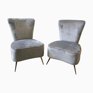 Mid-Century Italian Modern Grey Velvet and Brass Armchairs, 1950s, Set of 2