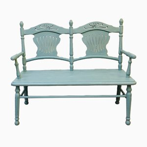 Antique Biedermeier Turquoise Painted Children's Bench, 1950s