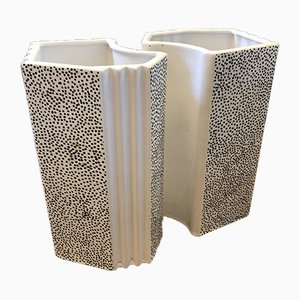 Postmodern Italian Ceramic Vases by Massimo Materassi, 1980s, Set of 2