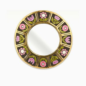 Ceramic Flower Wall Mirror by Mithé Espelt, 1960s