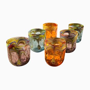 Bicchieri vintage in vetro di Murano di Maryana Iskra per Ribes, Italia, inizio XXI secolo, set di 6