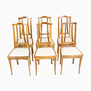 German Art Nouveau Walnut Dining Chairs, Set of 6
