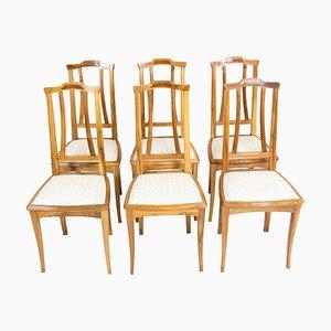 German Art Nouveau Walnut Dining Chairs, Set of 6