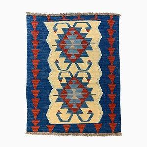 Small Vintage Turkish Red, Blue & Brown Wool Oushak Kilim Rug, 1950s