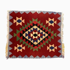 Small Vintage Turkish Red, Blue & Beige Wool Square Kilim Rug, 1950s