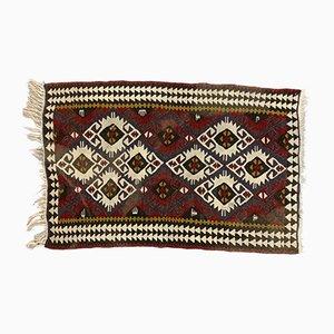 Small Vintage Turkish Red, Blue & Black Wool Kilim Rug, 1950s