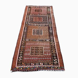 Large Vintage Turkish Red, Green, Black & Gold Tribal Kilim Rug, 1950s