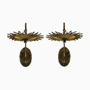 Vintage French Gilt Bronze Sunburst Bracket Sconces, Set of 2