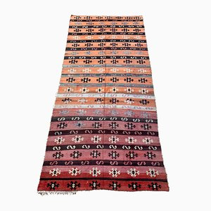 Large Vintage Turkish Pink, Blue, Beige & Black Tribal Kilim Rug, 1950s