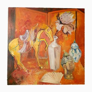 Oil on Canvas Still Life Painting by RG, 20th-Century