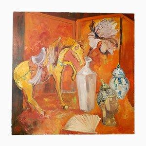 Peinture à l'Huile Nature Morte sur Toile par RG, 20ème Siècle