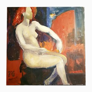 Oil on Canvas Painting by RG, 20th-Century