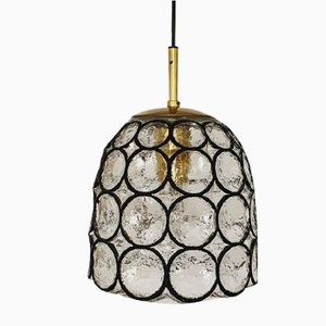 Iron Ring Glass Pendant Lamp from Limburg, 1960s