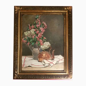 Oil On Canvas Still Life Painting, 19th-Century