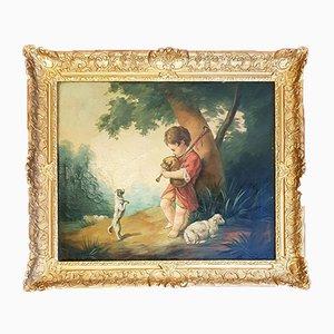 Öl auf Leinwand Szene eines Genres, 19. Jahrhundert