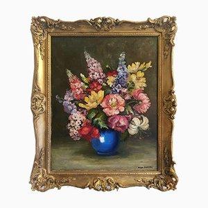 Oil On Canvas Flower Still Life, 20th-Century