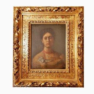 Öl auf Leinwand, Portrait einer jungen Frau von Simeon Buchbinder