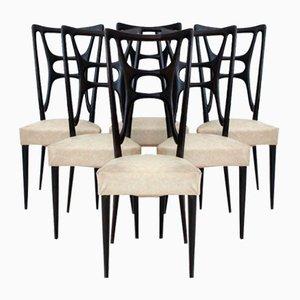 Sedie da pranzo in legno ebanizzato, anni '50, set di 6