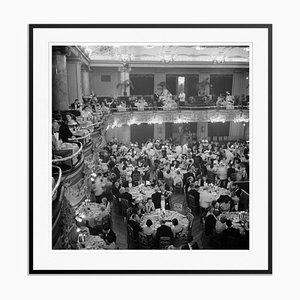 Luxury Dining Silver Fibre Gelatin Print Framed in Black by Slim Aarons