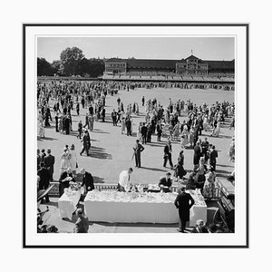 Spectators at Lords Silver Fibre Gelatin Print Framed in Black by Slim Aarons