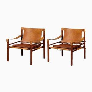 Mid-Century Palisander Sirocco Safari Stühle von Arne Norell, 2er Set