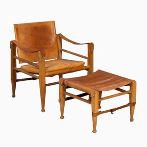 Mid-Century Danish Safari Chair & Stool in Patinated Cognac Leather by Aage Bruun & Søn, 1960s, Set of 2