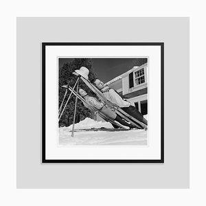 New England Skiing Silver Fibre Gelatin Print Framed in Black by Slim Aarons