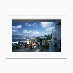Guests At Villa Nirvana Oversize C Print Framed in White by Slim Aarons