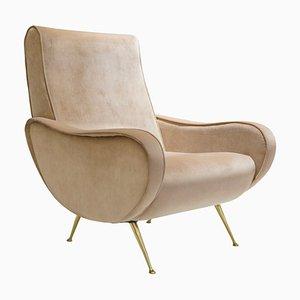 Italienischer Mid-Century Sessel aus Samt & Messing, 1950er