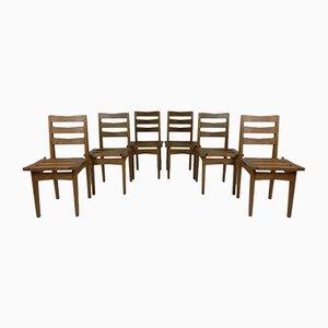 Oak Dining Chairs by Maurice Pré & Janette Laverrière, 1950s, Set of 6