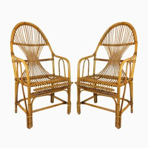 Large Vintage Bamboo & Rattan Lounge Chairs, 1960s, Set of 2