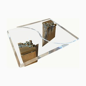 Large Vintage 2-Piece Brass and Lucite Coffee Table by Vime