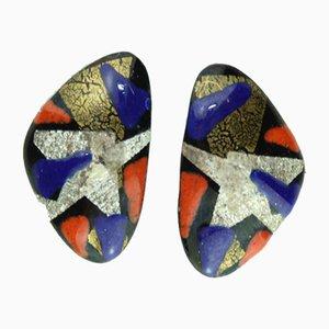 Clips de orejas esmaltados de Atelier Casanova, años 50. Juego de 2