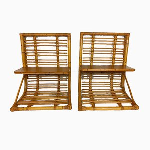 Vintage Rattan & Bamboo Wall Shelves, 1960s, Set of 2