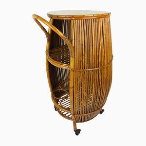 Mesa de bar vintage de ratán y bambú, años 60