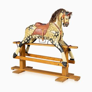 English Wooden Rocking Horse by Collison, 1930s
