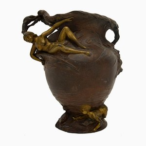 Antique French Art Nouveau Bronze Urn