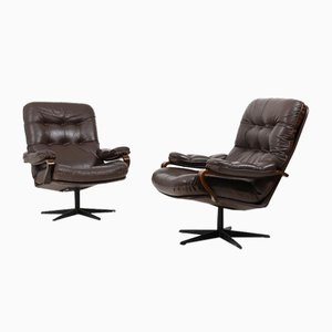 Danish Swivel Lounge Chairs in Brown Leather, 1970s, Set of 2