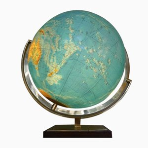 Vintage Illuminated Globe in Glass & Brass from Columbus Oestergaard, 1960s