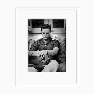 Marlon Brando 1954 Silver Gelatin Resin Print Framed in White by Murray Garrett