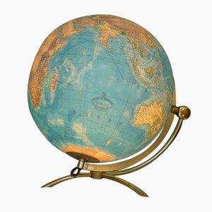 Globe Vintage Illuminé en Verre sur Socle en Laiton avec Trépied de Columbus Oestergaard, 1960s