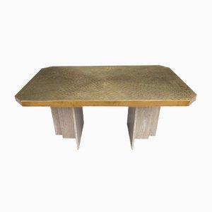 Table de Salle à Manger ou Bureau Vintage en Laiton Gravé de Georges Mathias
