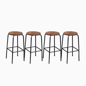 Mid-Century Danish Barstools in Teak & Black Tubular Steel, 1960s, Set of 4